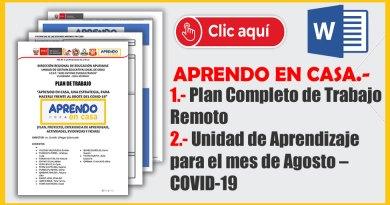 Nuevo Plan Completo de Trabajo Remoto y Unidad de Aprendizaje para el mes de Agosto – COVID-19. [WORD]