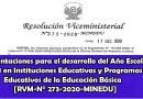 """Orientaciones para el desarrollo del Año Escolar 2021 en Instituciones Educativas y Programas Educativos de la Educación Básica""""[RVM-N° 273-2020-MINEDU]"""