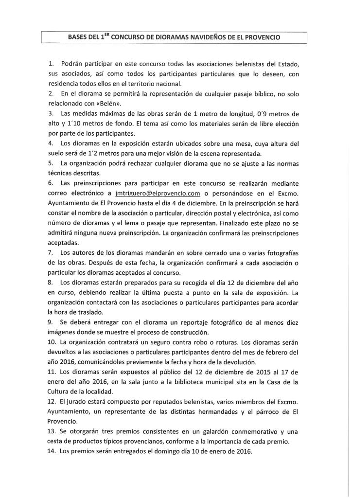 BASES DEL CONCURSO DE DIORAMAS NAVIDEÑOS