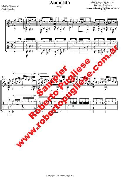 Amurado 🎼 tango partitura de guitarra