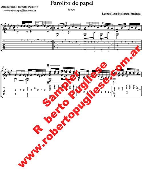 Farolito de papel, ejemplo de partitura para guitarra, arreglad por el maestro Roberto Pugliese - tabs o tablatura