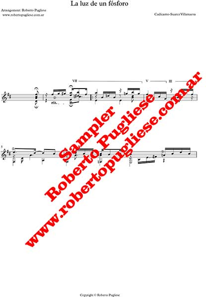 La luz de un fósforo 🎼 tango partitura en guitarra