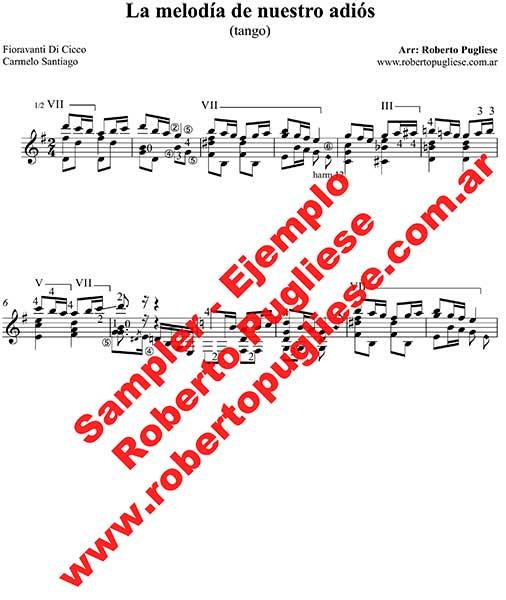 La melodia de nuestro adios 🎼 tango partitura en guitarra