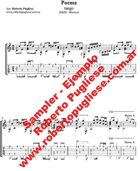 Poema 🎼 partitura del tango en guitarra. Con video