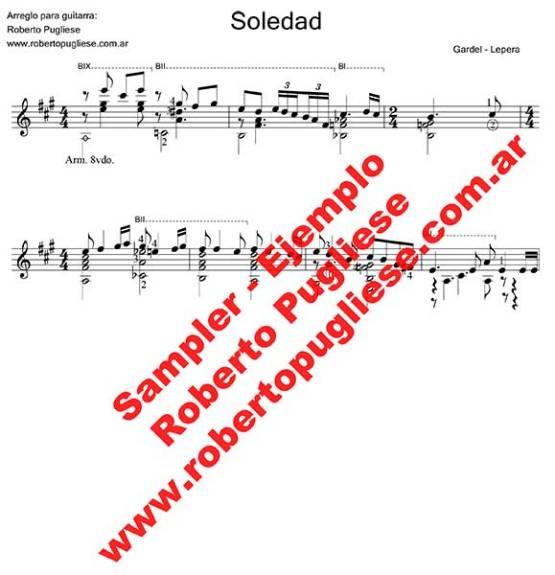 Soledad 🎼 partitura del tango en guitarra. Con video y mp3 gratis