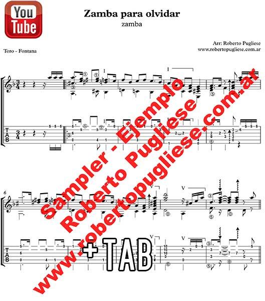 Zamba para olvidar 🎼  partitura de la zamba guitarra. Con video.
