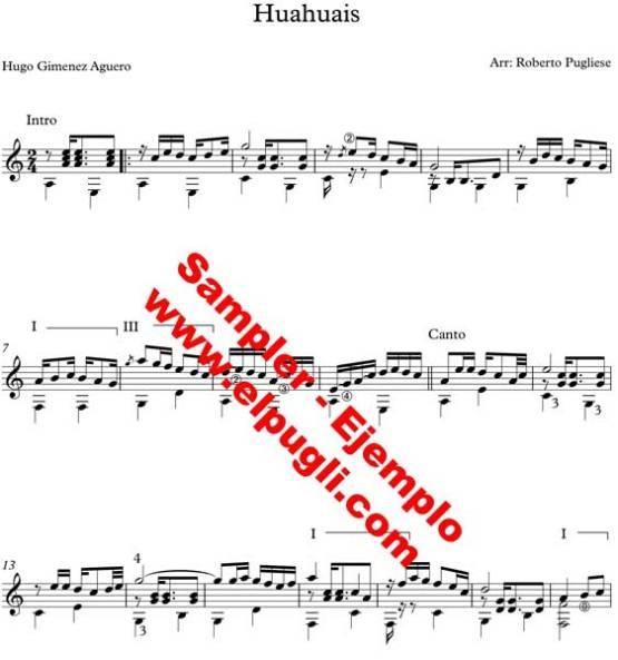 Huahuais 🎼 partitura para guitarra. Con video y MIDI gratis