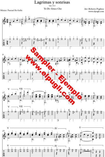 Lagrimas Y Sonrisas Vals Para Guitarra Por Roberto Pugliese Partitura