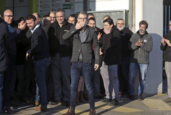 Jordi Cuixart, el primer dia que va sortir de Lledoners per anar a treballar en aplicació de l'article 100.2 JUANMA RAMOS.
