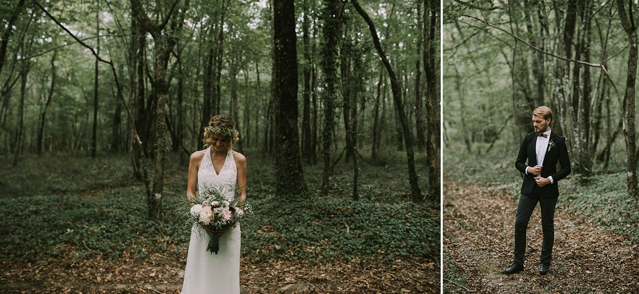 Sesión inspiracional de bodas en el bosque