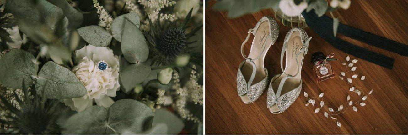 zapatos y anillo de novia