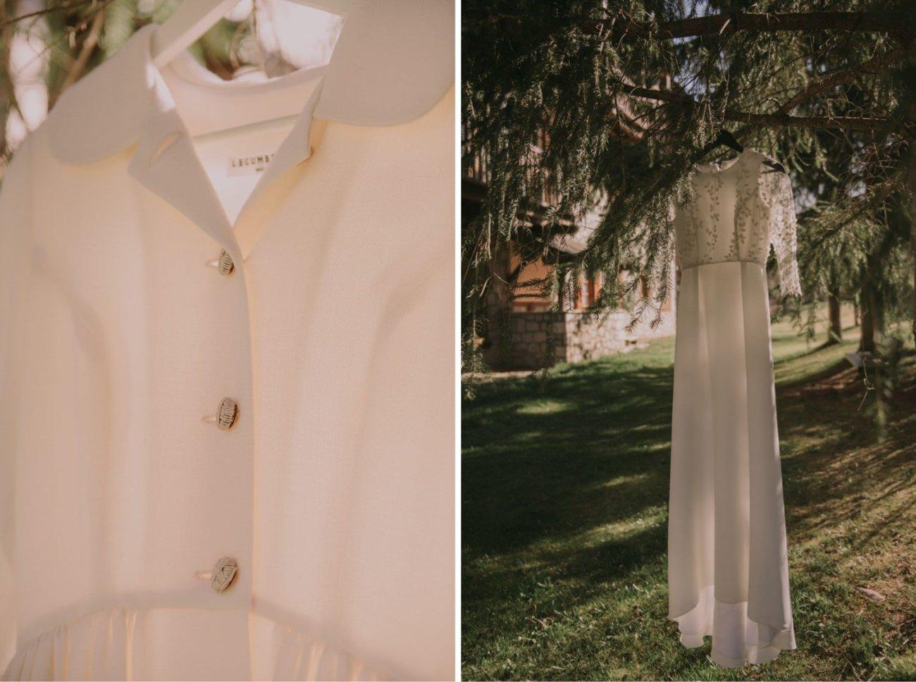 abrigo y vestido de novia de invierno