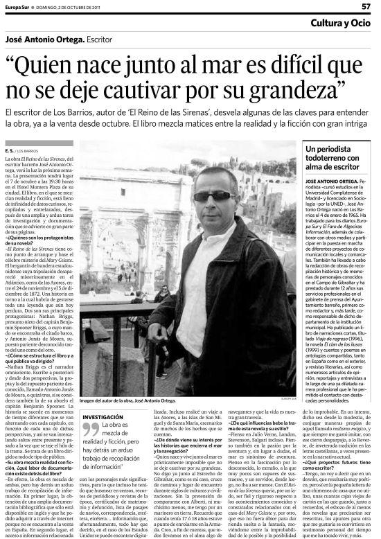 Entrevista de J. A. Ortega en el diaro Europa Sur