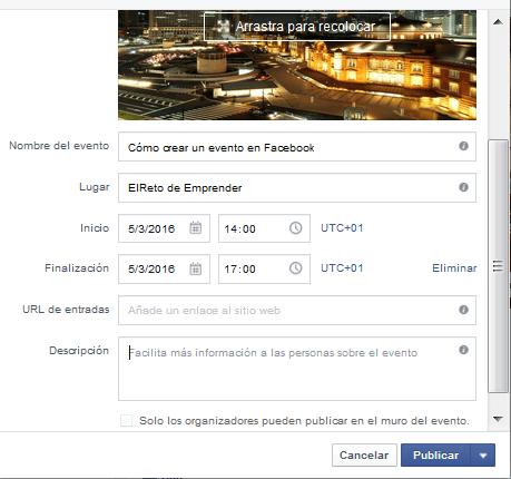 crear y publicar un evento en facebook