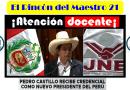 JOSÉ PEDRO CASTILLO TERRONES, RECIBE CREDENCIALES COMO NUEVO PRESDIENTE DEL PERÚ.