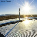A solar thermal plant in a desert