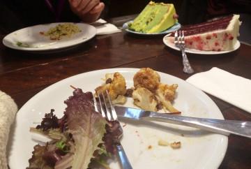 Salad and cake