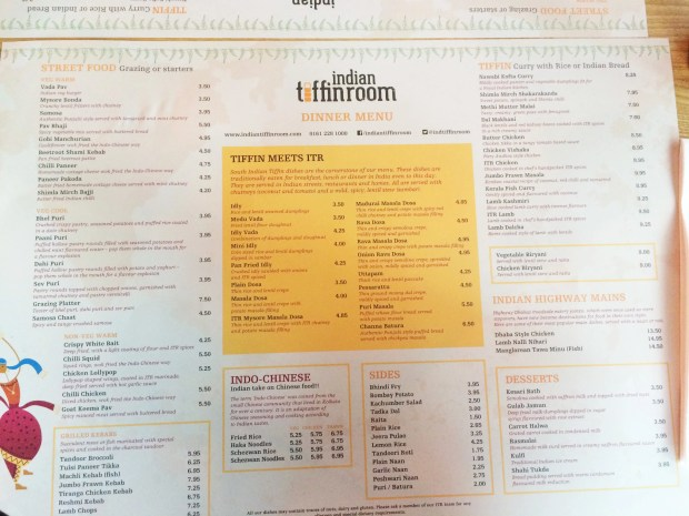 Indian Tiffin Room Menu