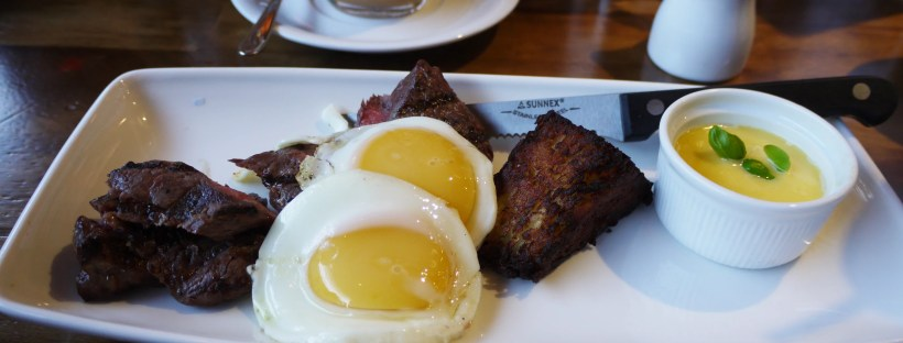 Steak and eggs (gf) £9.50