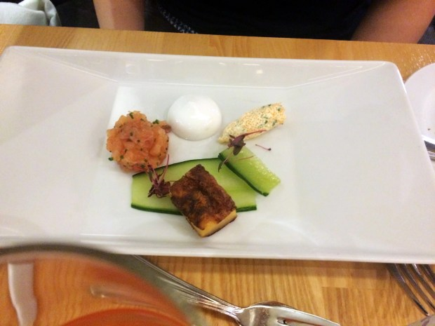 Slightly salted salmon with vendace roe mousse and potato pancake