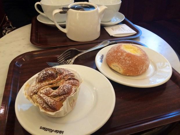Pistachio and cardamom twist and vanilla bun (26 SEK each)