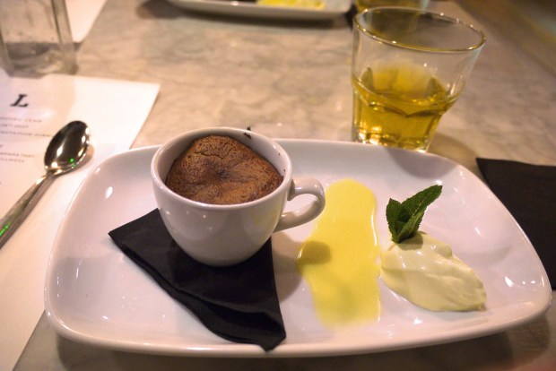 Leaf pudding club: Mint chocolate soufflé served with African mint tea