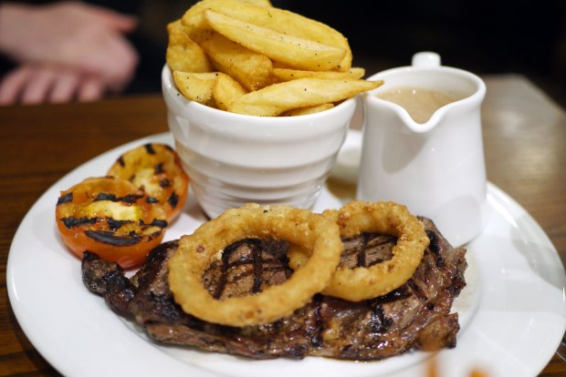 Char grilled 8oz sirloin steak (£17.45) & sauce (+£1.50)