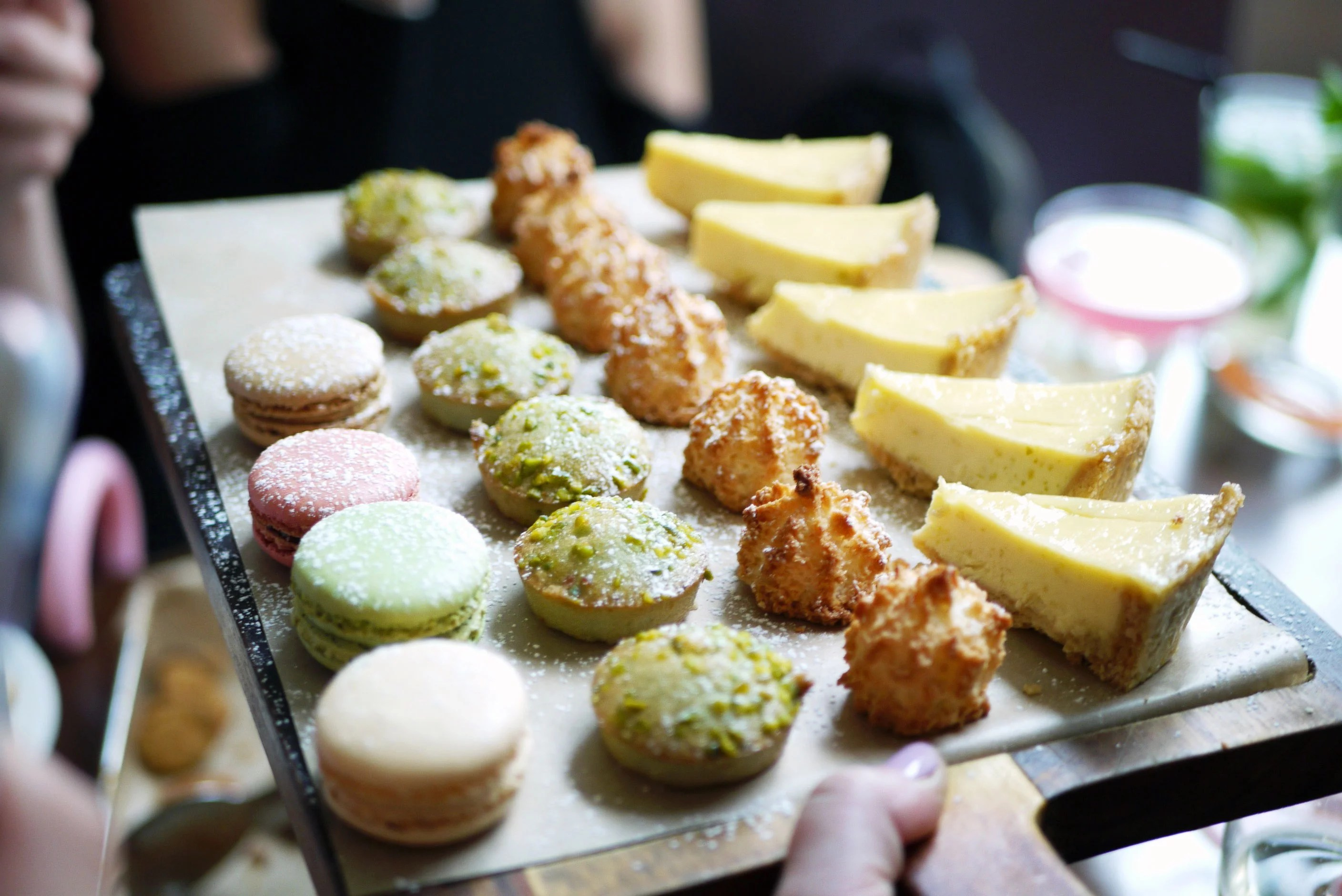 (L-R) Macarons (not on menu?), nutty bites and coconut macaroons (both come together as one dessert) and lemon and lime tart wedges