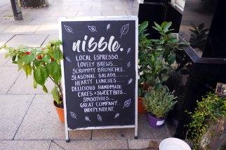 Nibble NQ chalkboard sign