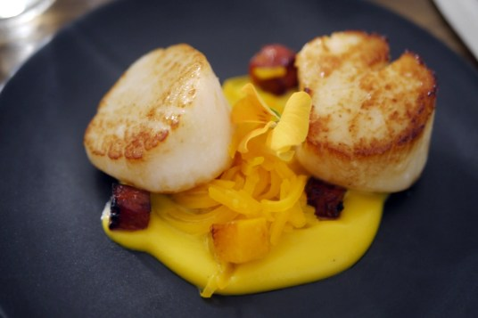 Seared scallops, with butternut squash and chorizo, from Provenance's A La Carte menu in the starters section