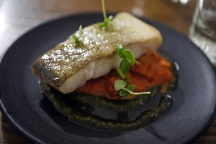 Pan Fried Cod, Chorizo Cassoulet and Basil Pesto