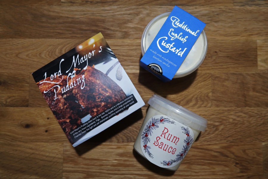 Buxton Pudding Company goodies, including the Lord Mayors pudding, traditional English custard and rum sauce