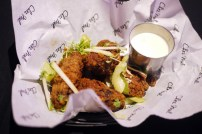 """Chez Mal """"Buffalo wings"""" with homemade hot sauce and Beauvale blue cheese dip £8"""