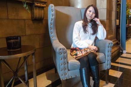 Me sat in a chair at the Principal hotel, facing straight ahead