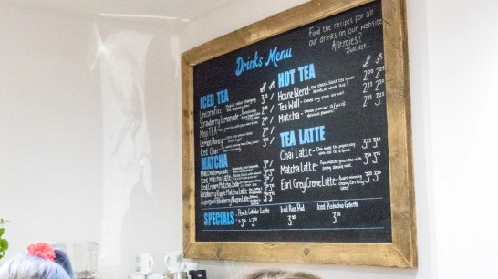 Tea bar menu