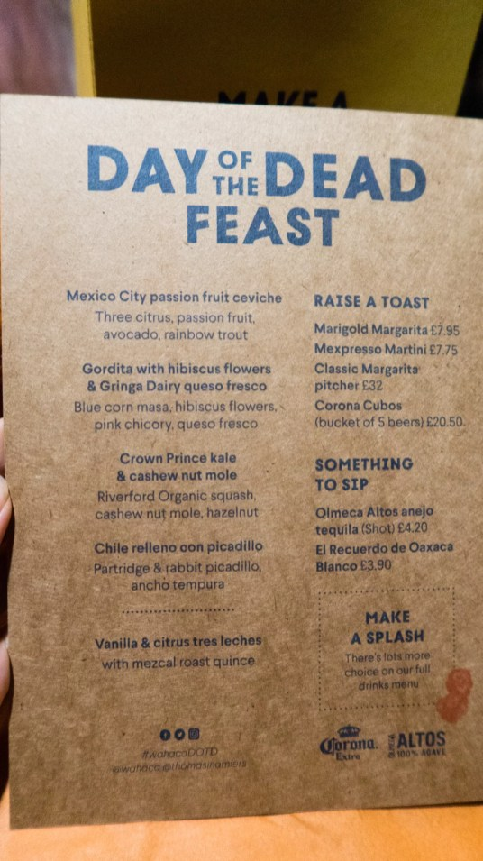 Day of the Dead Feast menu