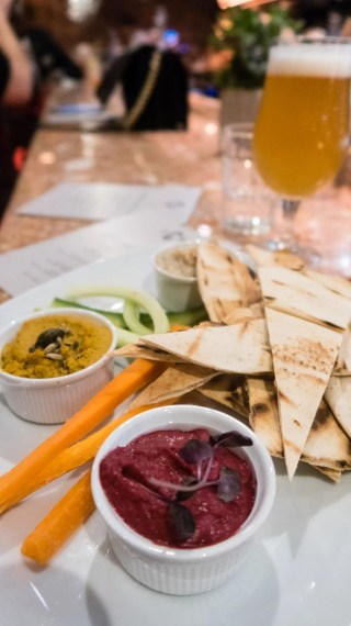 Carrot and cumin spiced hummus, artichoke and white bean dip, beetroot Baba Ghanoush, flat bread and veg sticks (ve)