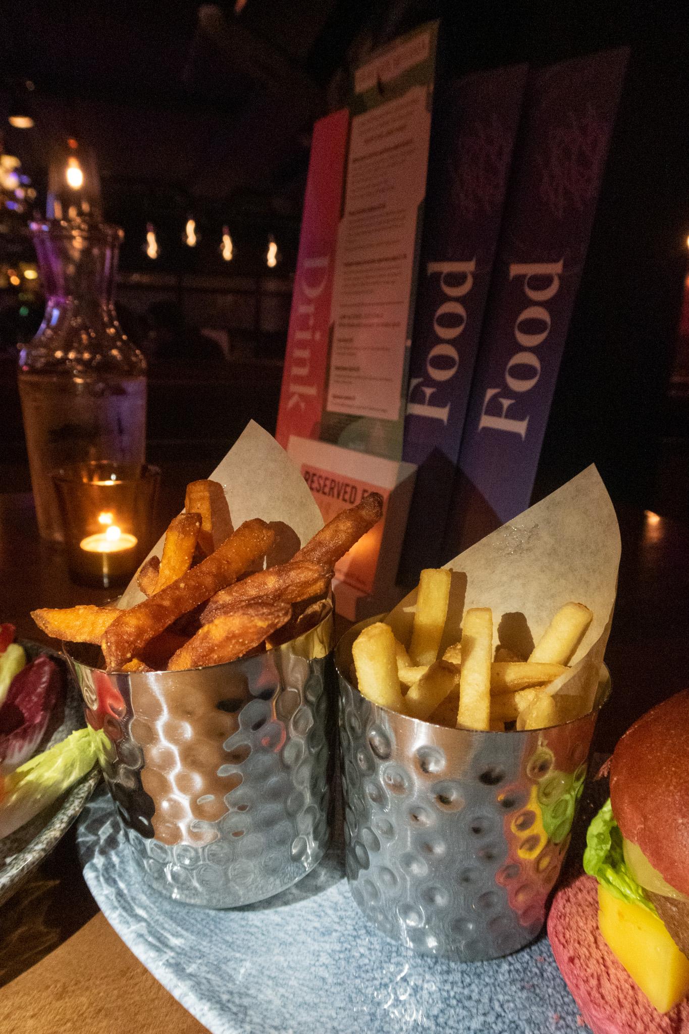 Sweet potato fries and regular fries