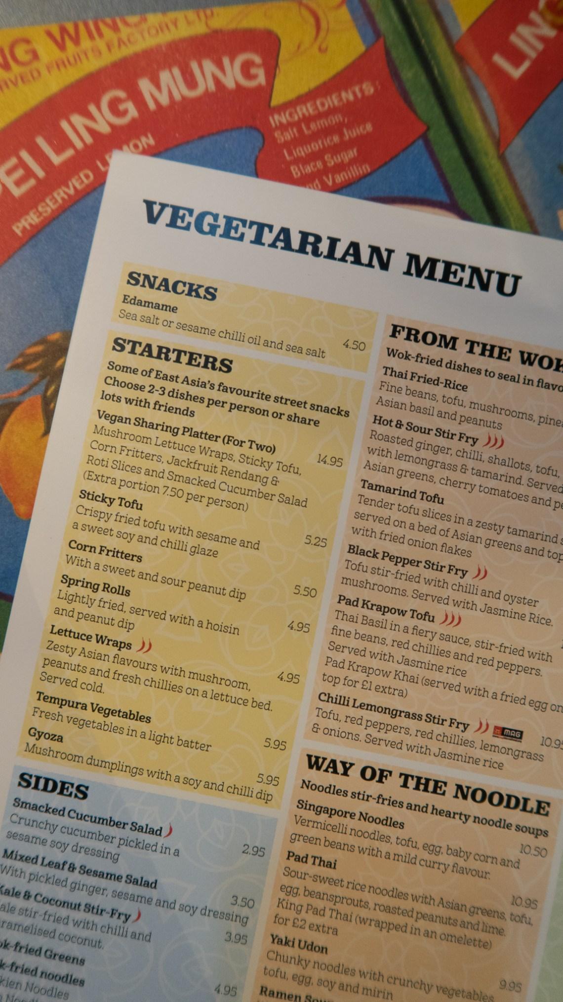 Tampopo vegetarian menu