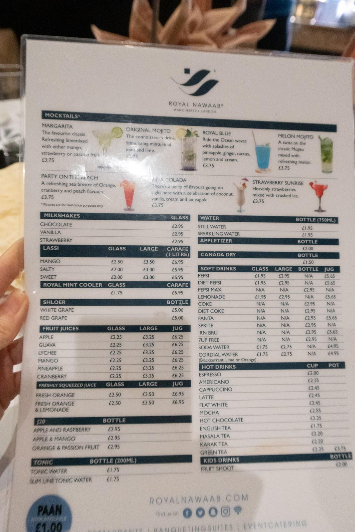 Royal Nawaab drinks menu