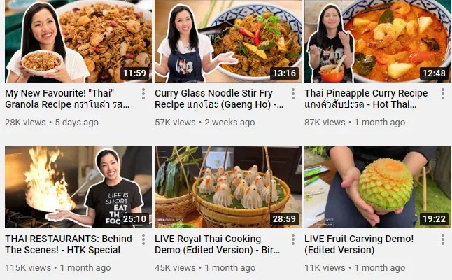 Screenshot of Hot Thai Kitchen's Youtube