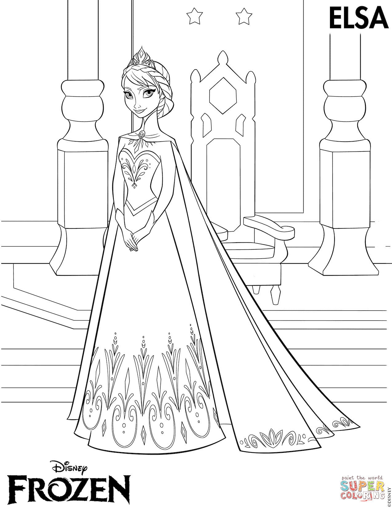 Elsa Coronation From The Frozen Elsa Coloring Pages