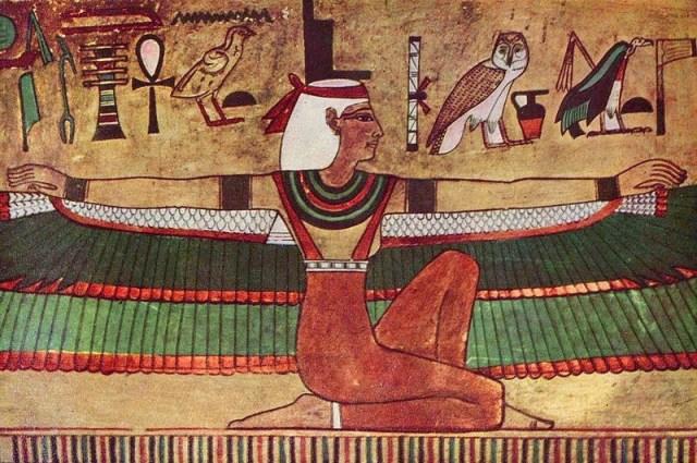 La diosa Isis, pintura mural, ca. 1360 a. C. ( F/W) Su culto se propagó por todos los pueblos del Mediterráneo, resistiendo la expansión del cristianismo durante el Imperio romano hasta que fue prohibido en tiempos de Justiniano I, en el año 535