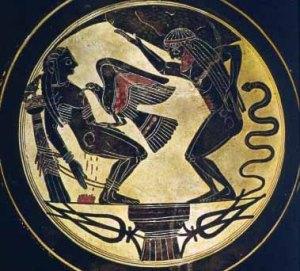 Prometeo encadenado es devorado por el águila (Museo Vaticano, 539 aC.)