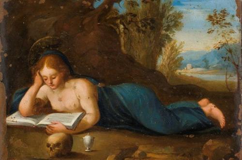 La Magdalena Leggente de Barcelona . Se trata de un pequeño óleo sobre cobre (de 15 por 12,5 centímetros) que representa a una Magdalena Leggente, un tema popular en la iconografía de esta santa, vinculado a la tradición cátara.
