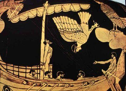 Ulises y las sirenas: pieza de cerámica ática; 480–470 a. C. Museo Británico.
