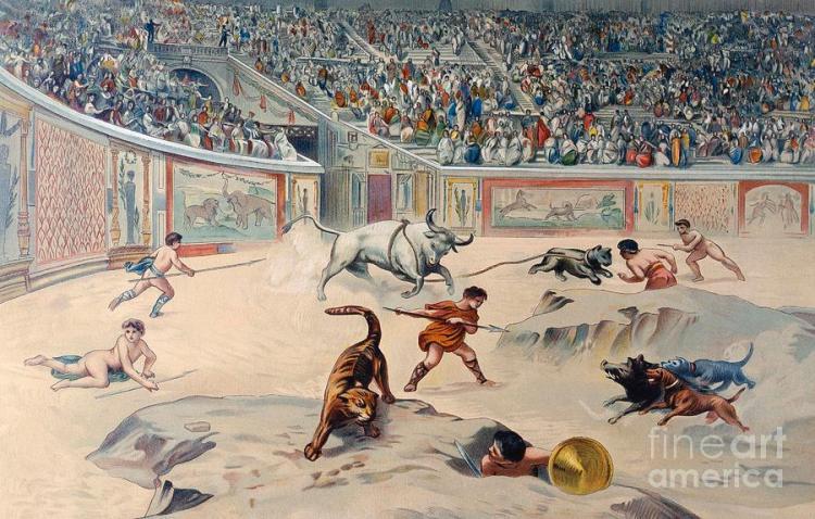 gladiators-fighting-animals-in-the-circus-at-pompeii-antonio-niccolini