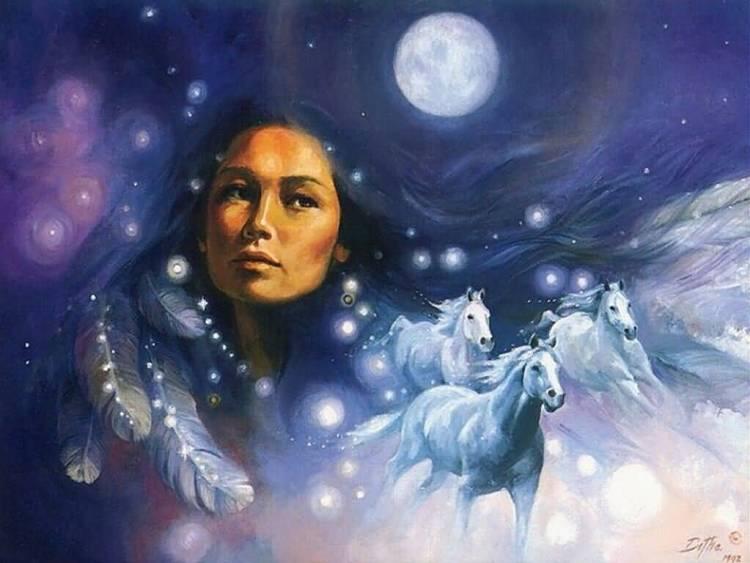 NativeAmericanWomanInFullMoonNightSky1024x768