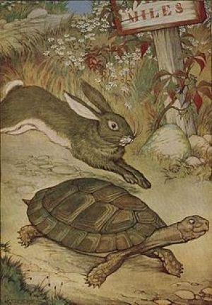 Ilustración de la fábula La liebre y la tortuga