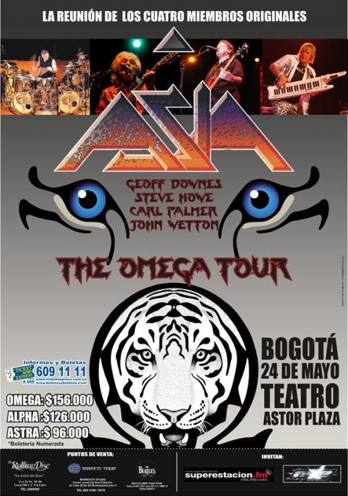 ASIA en Colombia con su formacion original, May 24 en el Teatro Astor Plaza de Bogota